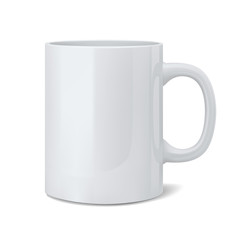 Realistic classic white cup