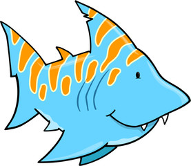 Cute Blue Shark Vector Art