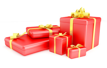 3D render of red gift boxes with yellow ribbons