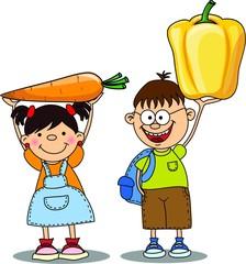 Мультфильм дети с овощами