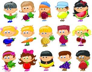 Мультфильм детей с фруктами и овощами