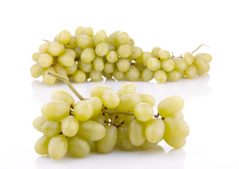 bunch of green grapes isolated on white