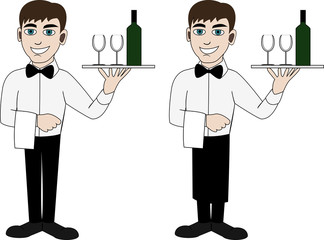 a waiter in a bow tie