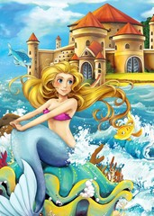 Wall Murals Mermaid The princesses - castles - knights and fairies