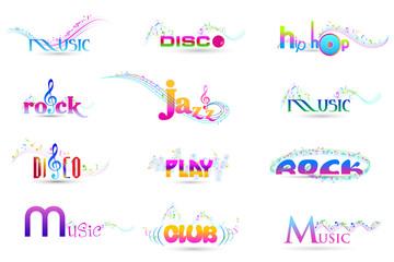 vector illustration of colorful music word with musical notes