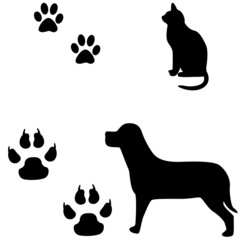 Cat and dog black and white illustration with their footsteps.