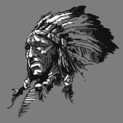 Chef indien noir et blanc