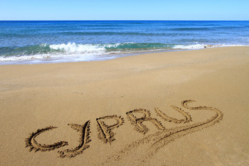 Garden Poster Cyprus Cyprus written on sandy beach