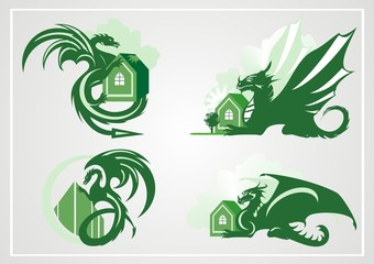 Dragon with the house. Green dragon symbols on the gray