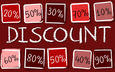 discount and percentages in squares - retro red label