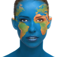 Beautiful woman face close up with planet Earth texture
