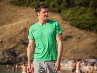 Adult man on the beach.