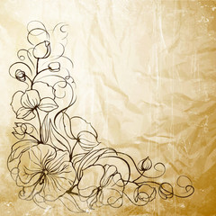 Sepia grunge background with orchid imprint
