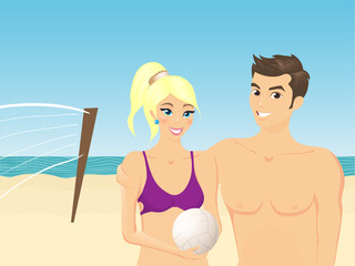Smiling boy and girl on the beach play in volleyball