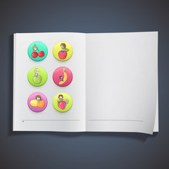 Kids with fruit on book.