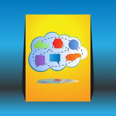 Abstract colorful big cloud computing - flyer design