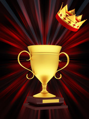Gold Cup on an abstract background with crown