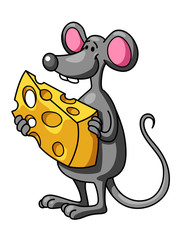 Funny cartoon mouse with cheese