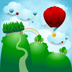 Poster de jardin Forets enfants Countryside with balloons, fantasy illustration