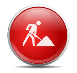 Icon rund rot Baustelle