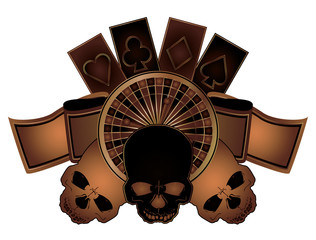 Casino poker elements with skulls isolated