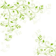 silhouette, motiv, ornament, ecke, garten, frühling, floral