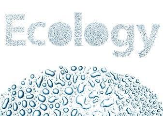 Ecology made of water drops, background on white
