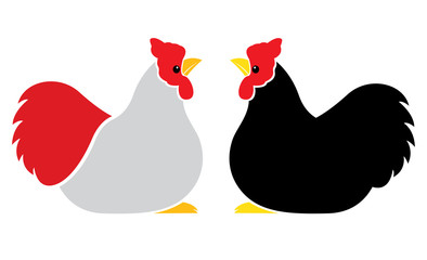Vector image of an hen on white background