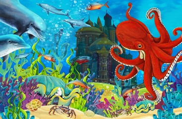 Poster Submarine Cartoon coral reef - illustration for the children