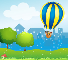 Garden Poster Magic world A big hot air balloon above the hill