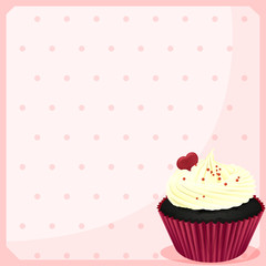 A stationery with a chocolate cupcake with a heart