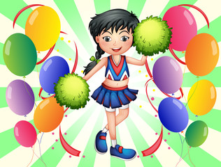 A cheerleader surrounded with balloons