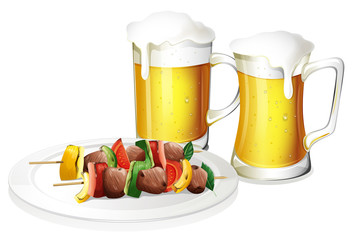 Two glasses of beer with a plate of barbeque