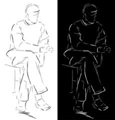 Sketch of a sitting man