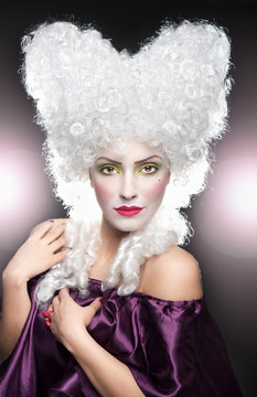 Beautiful vintage cheerful woman with white wig