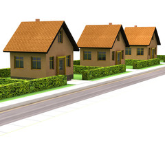 street with new houses isolated on white