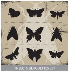 Nature butterflies silhouettes sign vector set