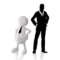 3D People with businessman silhouette