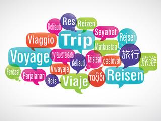 nuage de mots bulles : voyage
