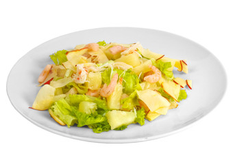 apples shrimp salad isolated a on white background clipping path