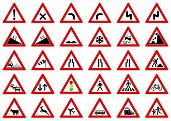 Verkehrszeichen - Gefahrenzeichen VZ 101 - 151