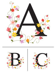 Decorative super caps letters a, b, c