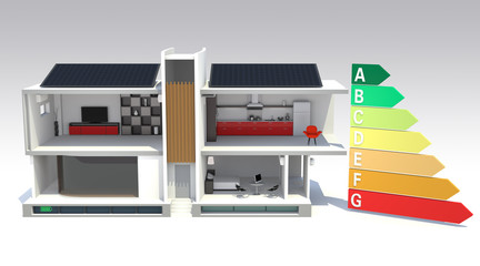 smart house with energy efficient chart(front view)