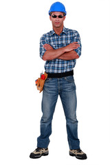 Confident builder wearing sunglasses