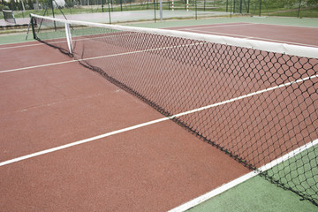 Network and ground tennis court