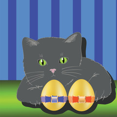 Fond de hotte en verre imprimé Chats cat and two easter eggs