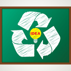 recycle symbol with bulb sketch stock vector