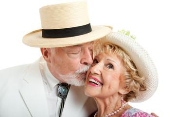 Southern Senior Couple Kissing