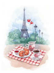 Watercolor background with illustration of eiffel tower and trad