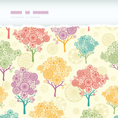 Vector colorful abstract trees horizontal torn seamless pattern
